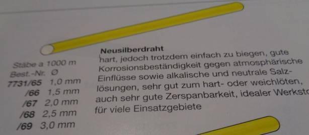 Neusilberdraht, Ø 1,5 mm, Länge: 1 m, 1 Stück