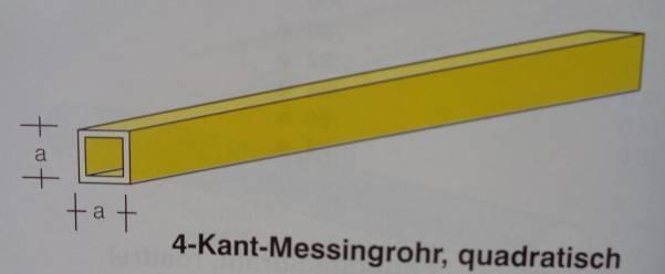 4-Kant-Messingrohr, quadratisch, 1,0 x 1,0 mm, WDST. 0,20 mm