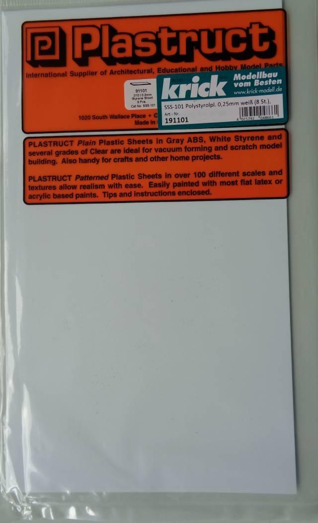 SSS-101 Polistyrolpl., weiß, 175x300mm, 0,25mm dick,