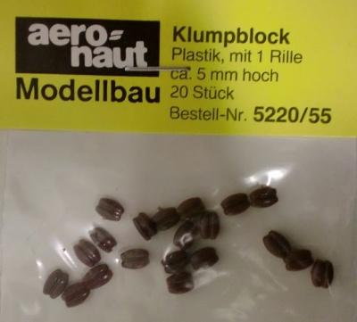 Klumpblock (Plastik), Höhe 5 mm, 1 Rille, 20 Stück
