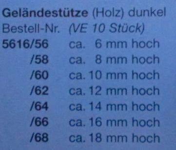 Geländerstützen (Holz) dunkel, 8 mm hoch, 10 Stück