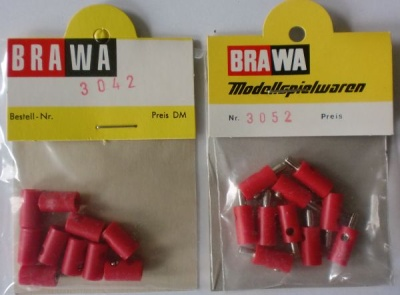 BRAWA-Schwachstrom-Buchsen+Stecker, rot, je 10 Stück