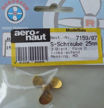 Schiffsschr. M 3, linkslaufend, Ø 25 mm,3-Blatt,stumpfe Nabe