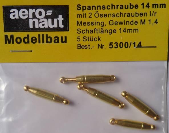 Spannschrauben (Messing).Ö/Ö  14 mm, 5 Stück