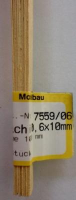 ABACHI-Vierkantleisten  0.6 x 10 mm, 1 m lang, 10 Stück