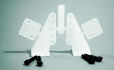 Kunststoff Ruderhorn 30 mm verst.,  mit Gegenplatte
