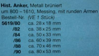 Histr. Anker, Metall brüniert, mit runden Armen, 38 x 25 mm