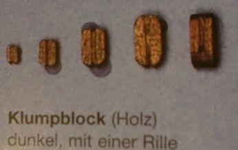 Klumpblock, Holz, dunkel,  mit 1 Rille, 3 mm hoch, 20 Stück