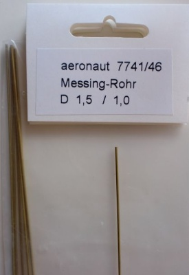 1 x Messing-ROHR 1,5/1,1mm,  1 m lang