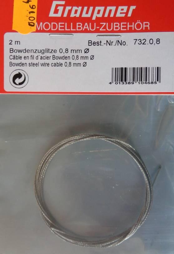 Bowdenzug-Stahllitze0,8 - vorerst nicht lieferbar /1.4.2020