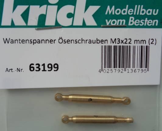 Wantenspanner mit Ösenschrauben M3x22 mm, 2 Stück