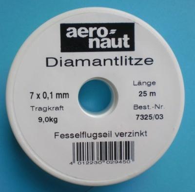 Diamantlitze Ø 7 x 0,1 mm, Tragkraft 9 kg, Spule mit 25 m