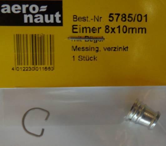 Eimer mit Bügel, Aluminium gedreht, Ø 8 x 10 mm, 1 Stück