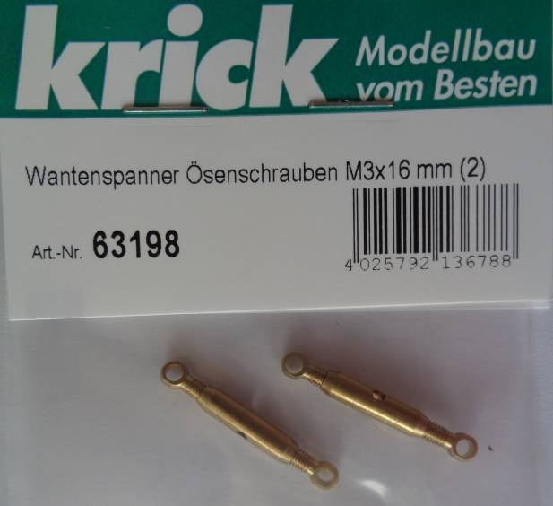 Wantenspanner mit Ösenschrauben M3x16 mm, 2 Stück