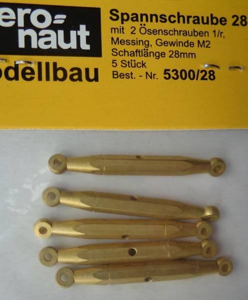 Spannschrauben (Messing).Ö/Ö  28 mm, 5 Stück