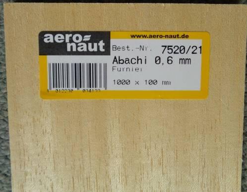 ABACHI-Furnier 1000x100x0.6/0,7 mm, 10 Stück
