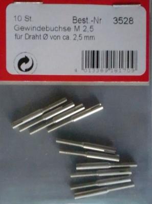 Gewindebuchse M2,5, 10 Stück