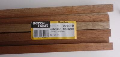 MAHAGONI-Vierkantleisten  12 x 12 mm, 1 m lang, 10 Stück