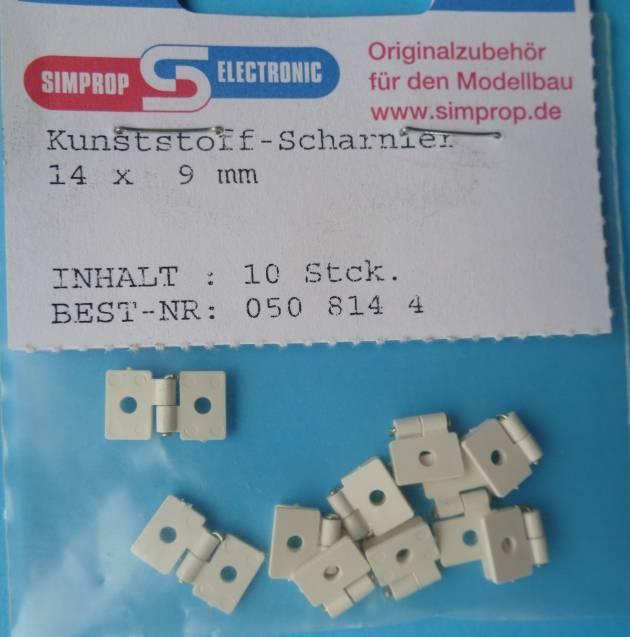 Kunststoff-Scharniere 14 x 19 mm, 10 Stück