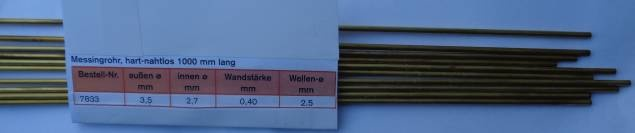 Messing-Rohr 3,5 X 2,7 X 1000 mm, 10 Stück