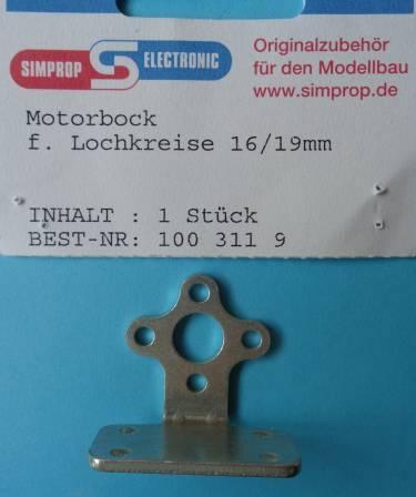 Motorbock f. Lochkreise 16/19 mm