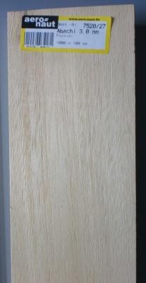 ABACHI-Furnier, 1000x100x3.0 mm, 10 Stück