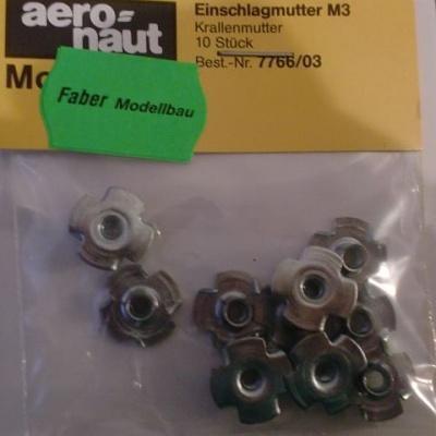 EINSCHLAGMUTTER, Stahl, verzinkt,  M 3, 10 Stück