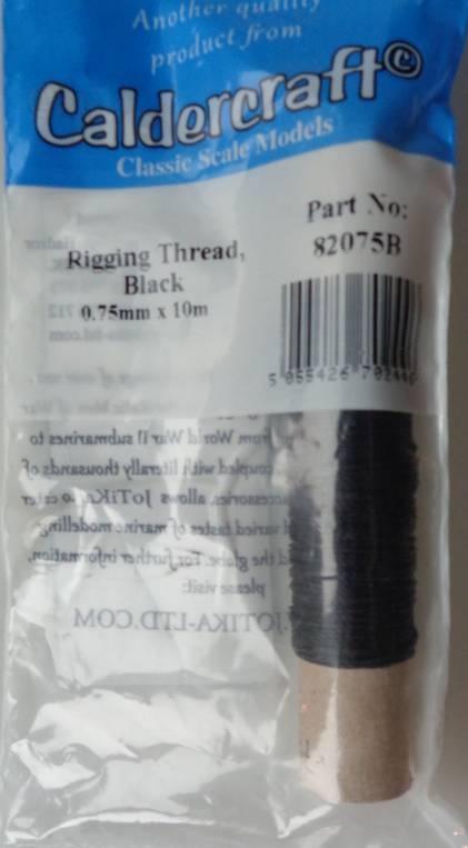 Takelgarn schwarz 0,75mm 10m, Caldercraft