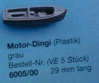Motor-Dingi, grau, 29 mm lang, 5 Stück