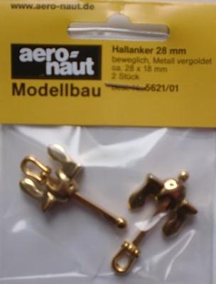 Hallanker, beweglich, metall, vergoldet, 28 mm