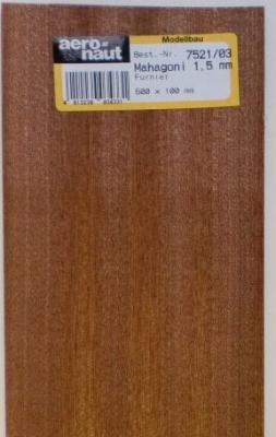 MAHAGONI-Furnier,  500x100x0.6 mm, 1 Stück