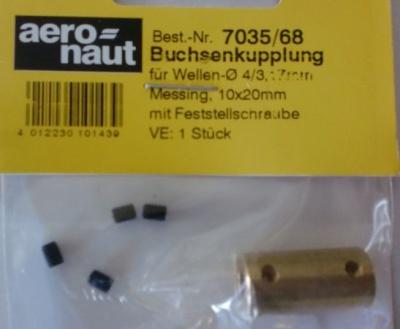 Buchsenkupplung 4/3,17 mm, Länge 20 mm, Ø 10 mm