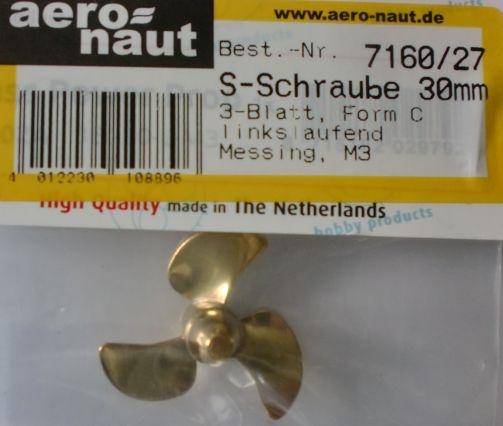 Schiffsschraube, Messing, 3-Blatt, 30 mm, M 3, linksl.