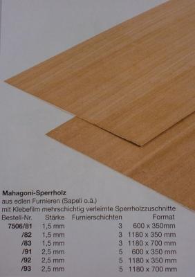 Mahagoni-Sperrholz, Stärke 2,5 mm, 60 x 35 cm
