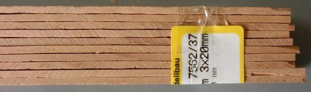 BIRNBAUM-Vierkantleisten  3 x 20 mm, 1 m lang, 10 Stück