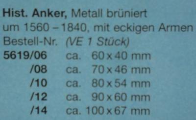 Histr. Anker, Metall brüniert, mit eckigem Armen, 90 x 60 mm