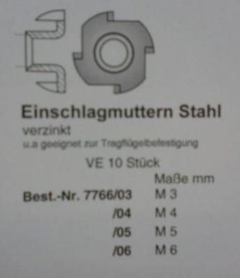 EINSCHLAGMUTTER, Stahl, verzinkt,  M 4, 10 Stück