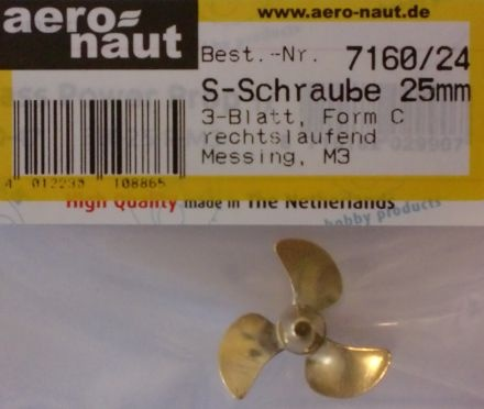 Schiffsschraube, Messing, 3-Blatt, 25 mm, M 3, rechtsl.