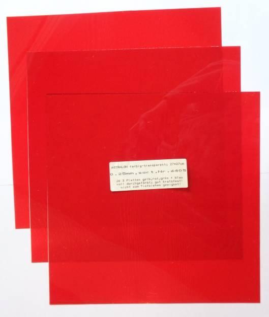 Astralon-Platten, farbig-transparent, 27x27 cm, 0,25 mm dick