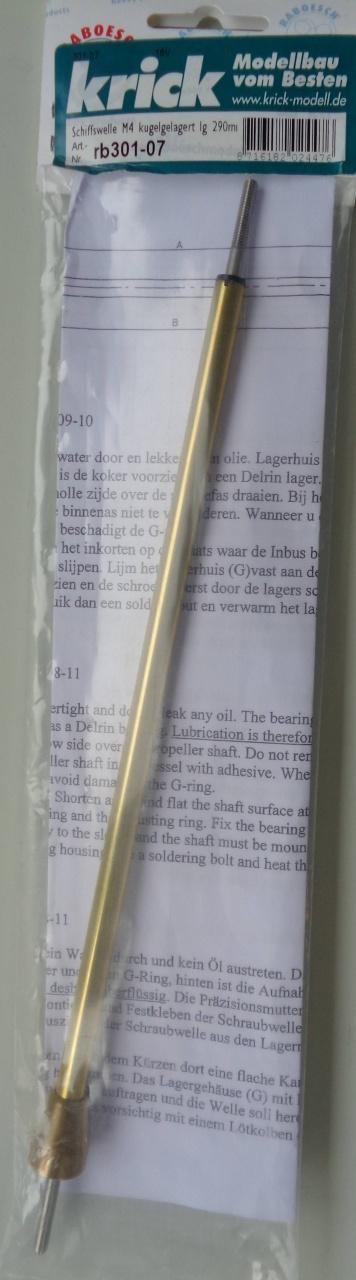 Schiffswelle, kugelgel., Wellen-Ø 4mm,Länge 290mm,Rohr-Ø 8mm