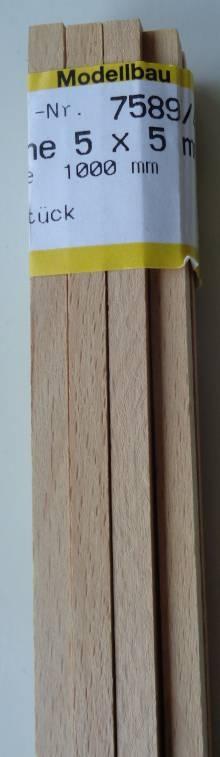 BUCHEN-Vierkantleisten  5 x 5 mm, 1 m lang, 10 Stück