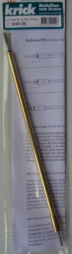 Schiffswelle, Wellen-Ø 4 mm, Länge 290 mm, Rohr-Ø 8 mm