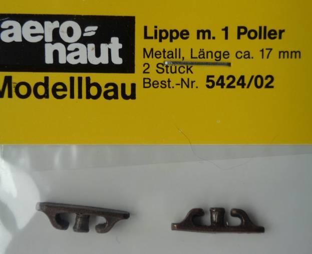 Lippe Metall, mit einem Poller,  ca. 17 mm lang, 2 Stück