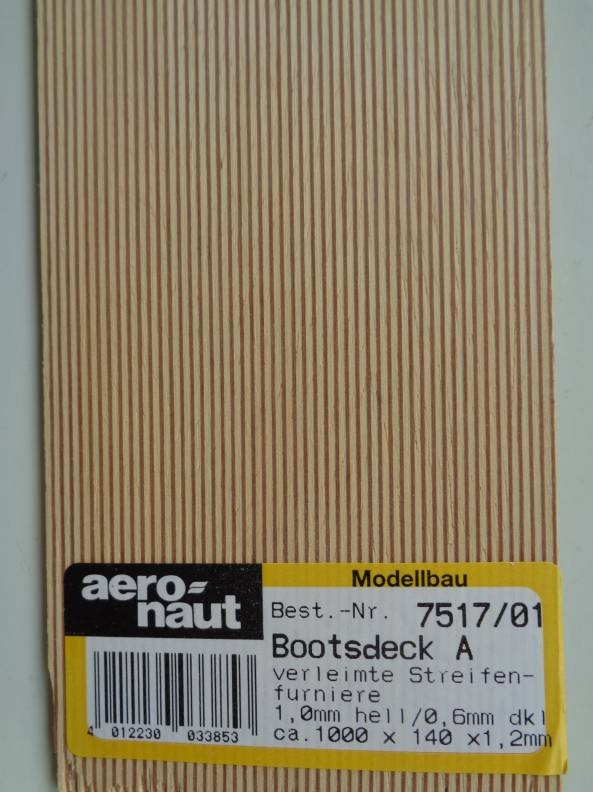BOOTSDECK 1,0h/0,6d, Länge 1 m, Breite 15 cm (2 x 7,5 cm)