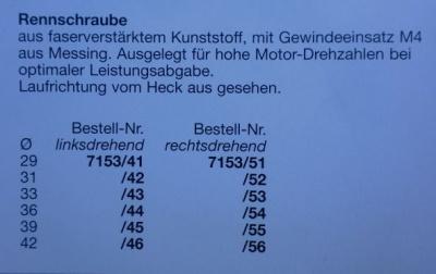 Rennschraube 2-Blatt, 36 mm, linkslaufend
