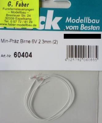 Min-Präz.Birne 6V 2,3mm (2), Kabelänge 10 cm