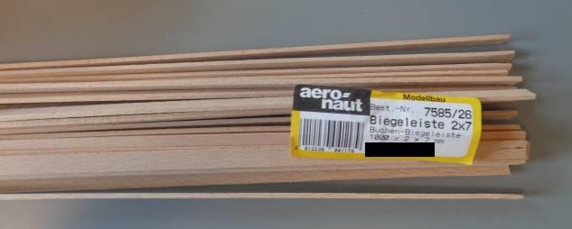 5 Stück Biegeleisten Buche   2 x 7 mm, 1 m lang