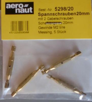 Spannschrauben (Messing) G/G 20 mm, 5 Stück