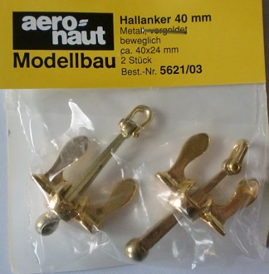 Hallanker, beweglich, metall, vergoldet, 40 mm