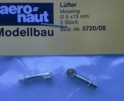 Lüfter (Metall vergoldet) 5 x 13 mm, 2 Stück